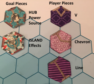 The basic five pieces of the eBee game.